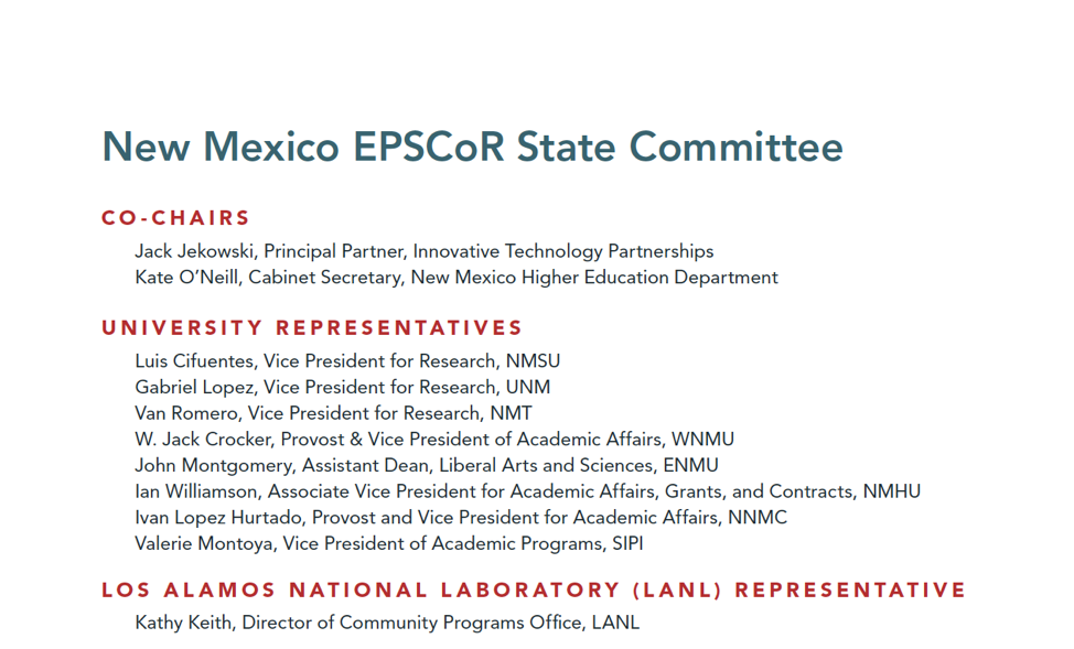 Image of list of NM EPSCoR State Committee Members