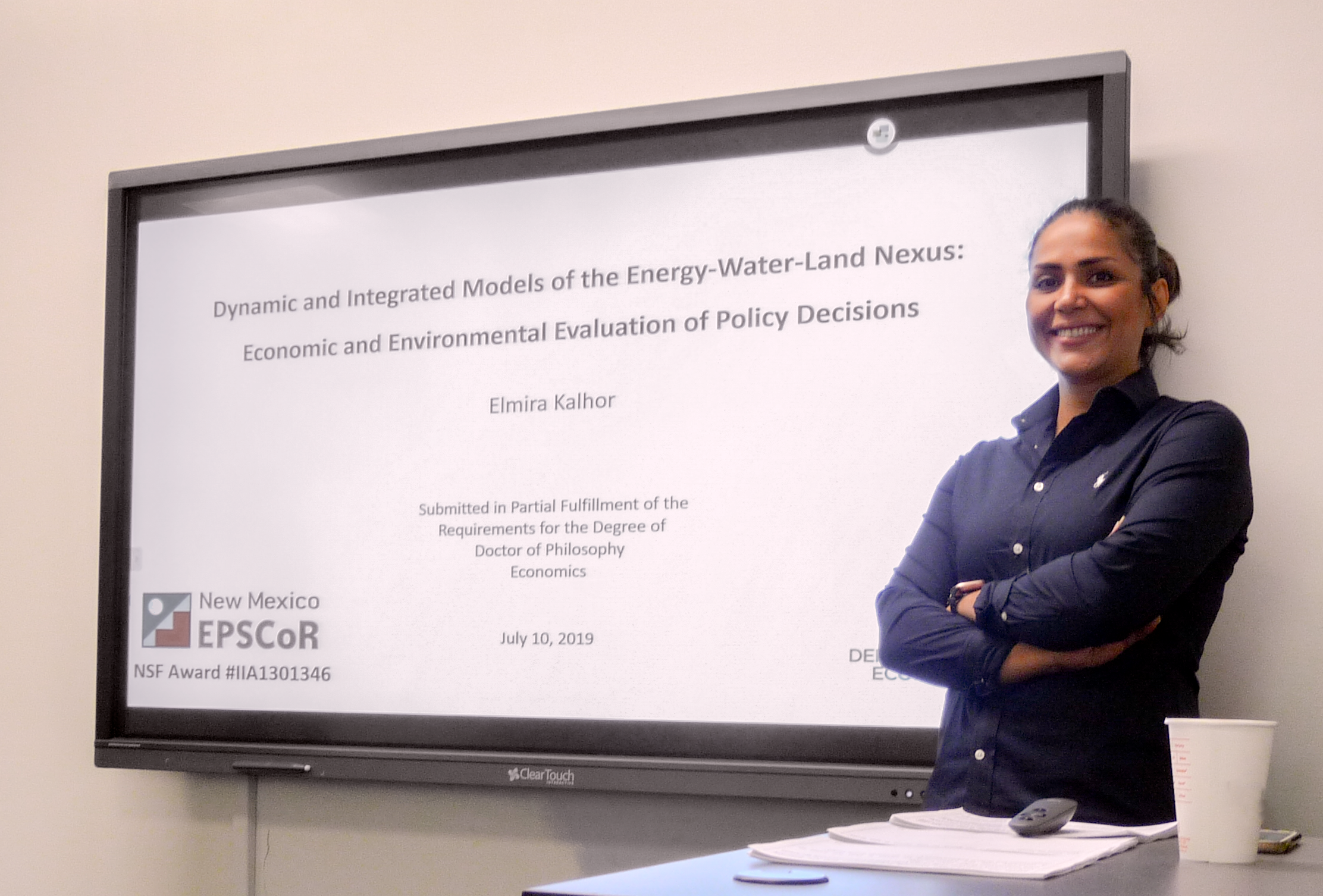 Elmira Kalhor smiling at PhD defense