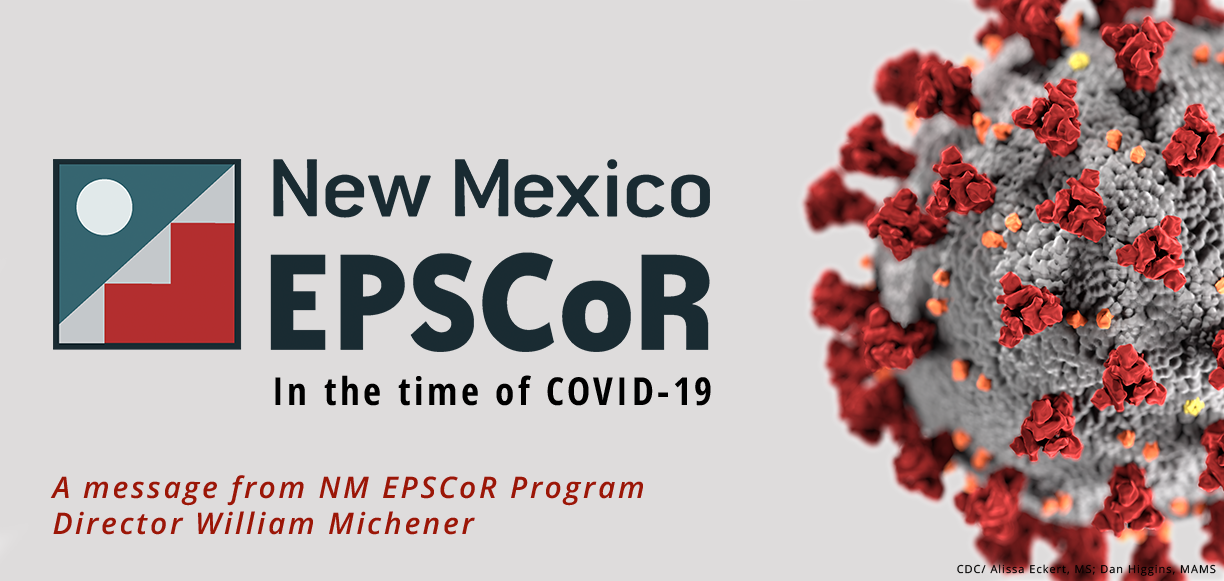 Image of covid virus next to epscor logo